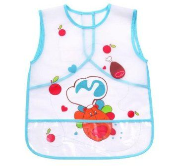 1 x Baby Water Proof Apron Bib for FEEDING / PAINTING / COOKING / ARTS & CRAFTS / PLAYING - 24 m+ - BLUE: Amazon.co.uk: Baby