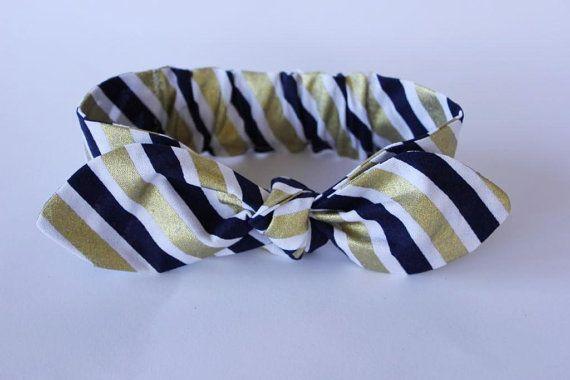 Baby bow headband metallic gold navy blue white by ElleBelleBliss $12 AUD