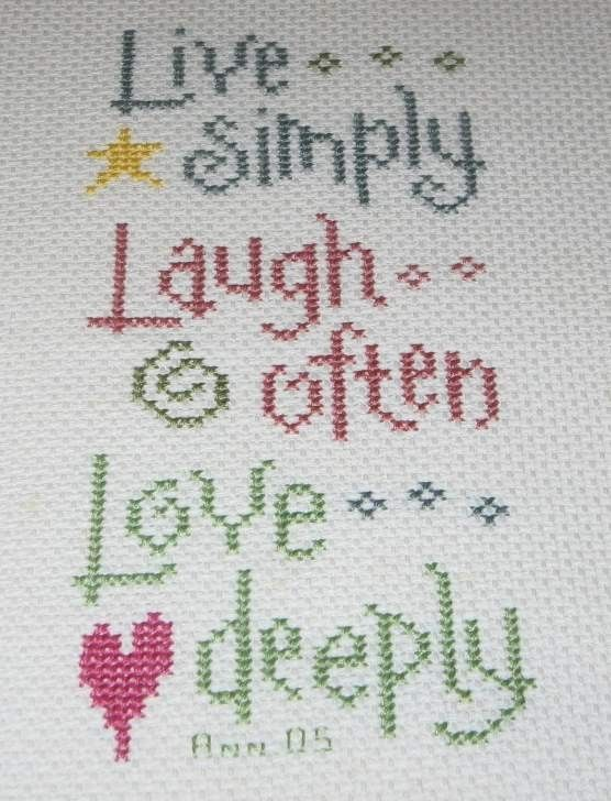 live well laugh often love deeply cross stitch | Live Simply Laugh Often Love Deeply Finished Cross Stitch