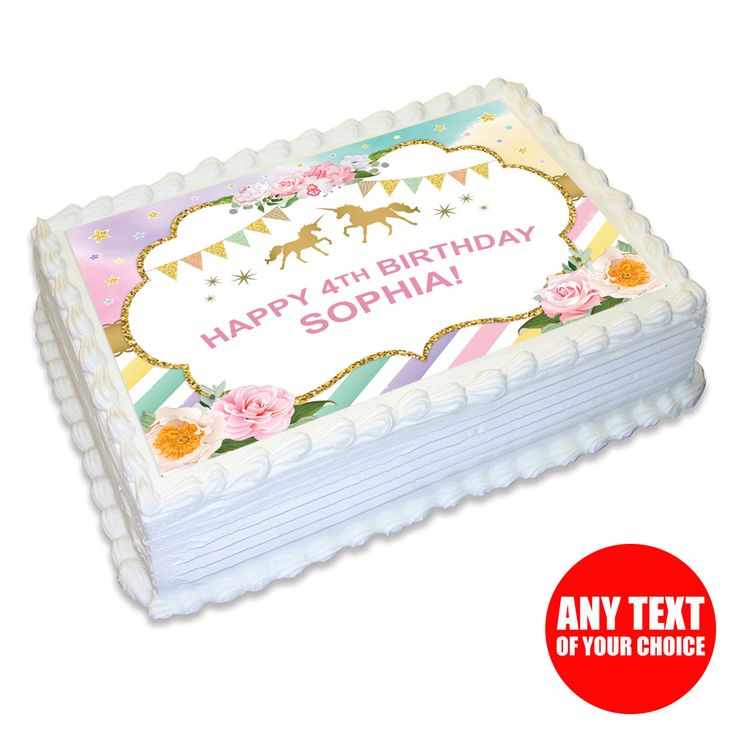 Sparkling Unicorn Personalized Peel & Place Edible Icing Party Supplies Canada - Open A Party