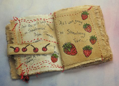 'Strawberry Fair' old sheeting dyed with tea with illustration and stitch (click to enlarge)
