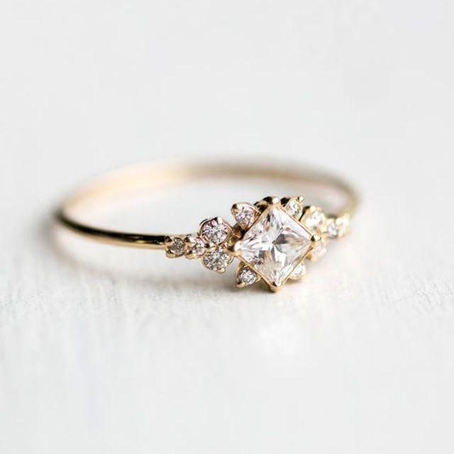 Antike 18 Karat Gold Gefüllt Weißer Saphir Edelstein Ring Hochzeit Frauen Schmuck Ringe …   – Bracelests