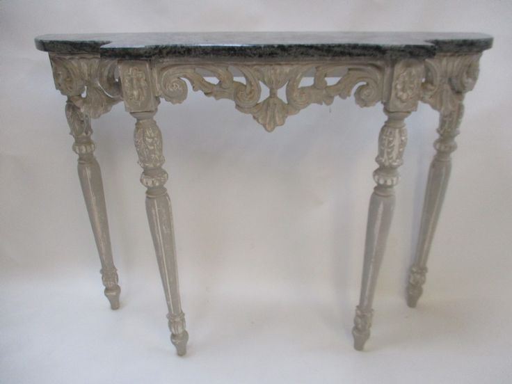 Superior French Decorative Carved Console Table With Marble Top. Antique ...