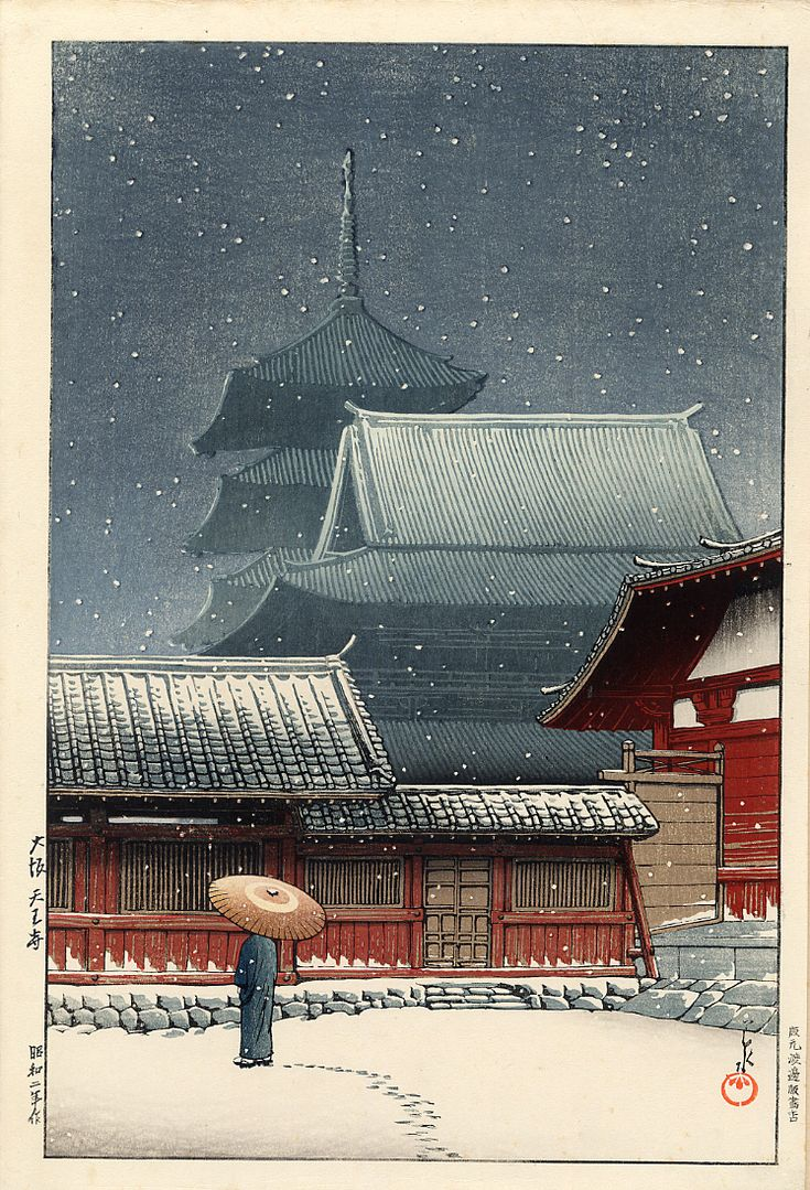 JAPAN PRINT GALLERY: The Temple in Snow