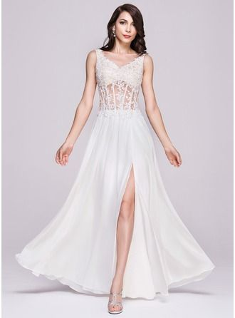 A-Line/Princess V-neck Floor-Length Chiffon Lace Evening Dress With Beading Sequins Split Front http://bit.ly/1e4q9ID
