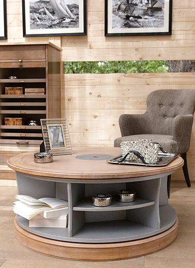 Rotating Coffee Table( ø 41.5 x H 17.5 / ø 35.5 x H 15 in)  Côté Design Oscar Armchair (W 23.5 x H 35 x D 27 in)