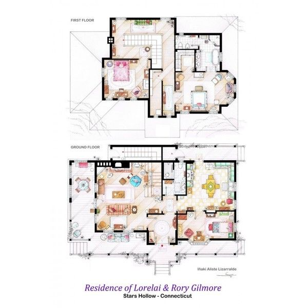 Gilmore Girls house, Floor plans of homes from famous TV shows found on Polyvore