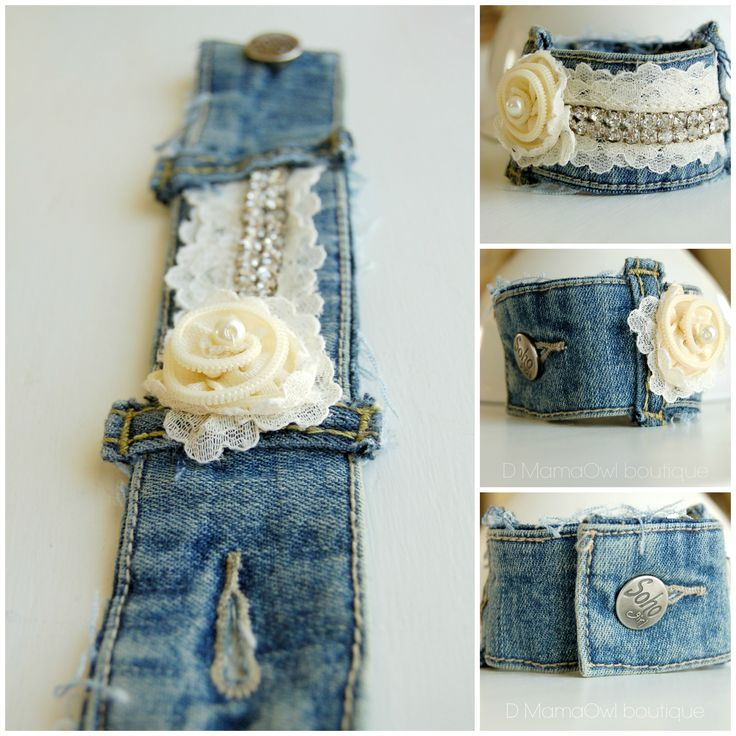 Upcycle recycled denim bracelet with ivory zipper flower, lace and rhinstones at https://www.facebook.com/DMamaOwlboutique