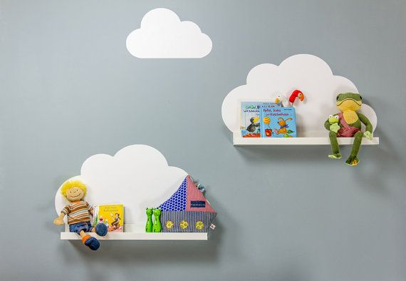 "Kids shelves ""Cloudy Sky"": Set of 3 wall stickers suitable for IKEA Ribba Picture ledges length 55 cm (1W-DR01-01)"