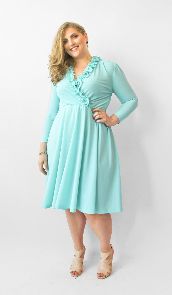 Plus size teal blue dress