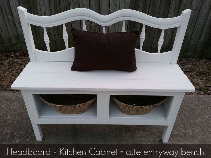 Headboard And A Kitchen Cabinet Make A Great Bench With