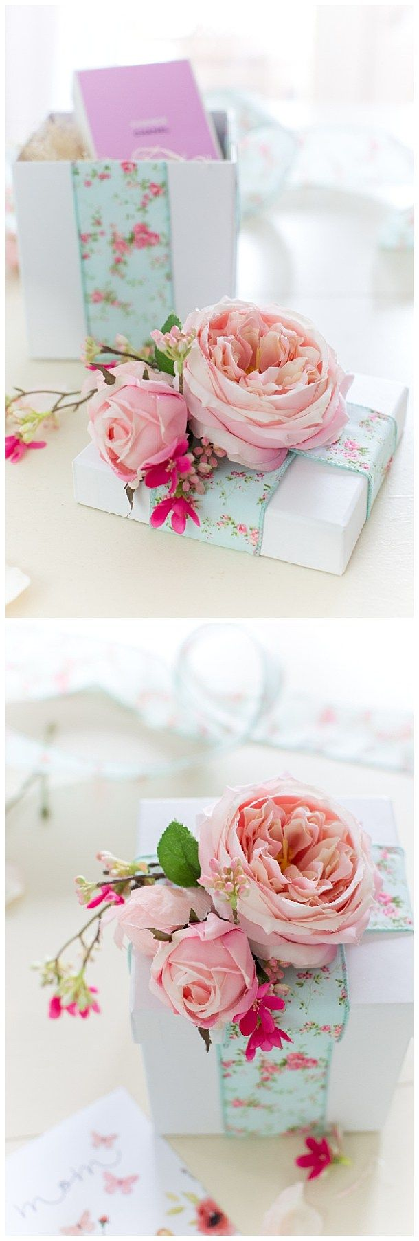 Vintage Floral Ribbon and Watercolor Hues Floral Gift Toppers via Craftberry Bush - The BEST DIY Gift Toppers - Pretty and EASY Inexpensive Handmade Ideas for Christmas, Birthdays, Mother's Day, Holidays and any special occasion!