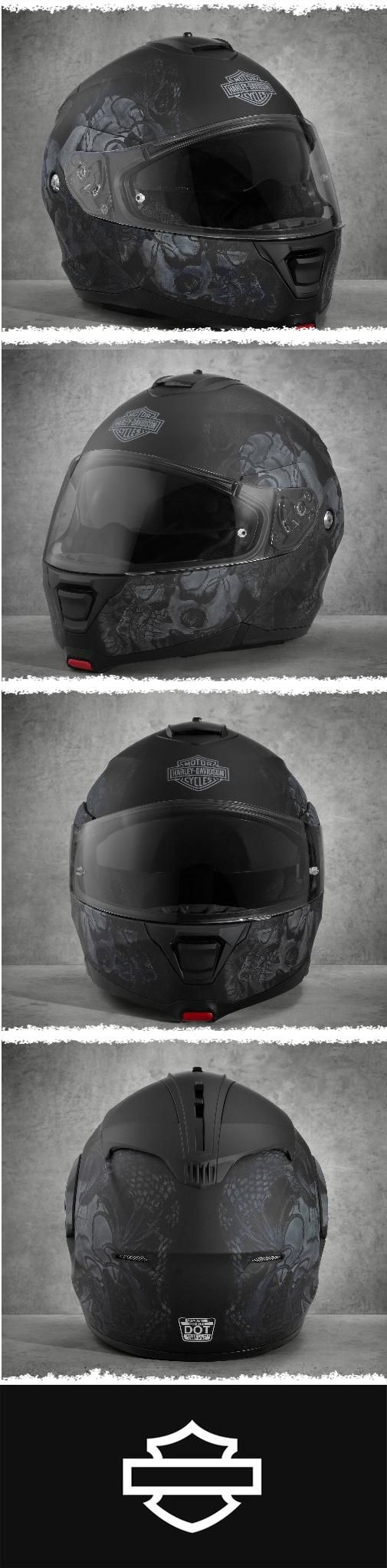 As if high-end features aren't enough, this head gear portrays a wicked mash-up of venomous snake and evil skull. | Harley-Davidson Men's Intrepid Sun Shield H24 Modular Helmet