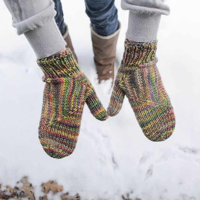 Started from the thumb. Ravelry: Block Mittens pattern by Jenise Reid