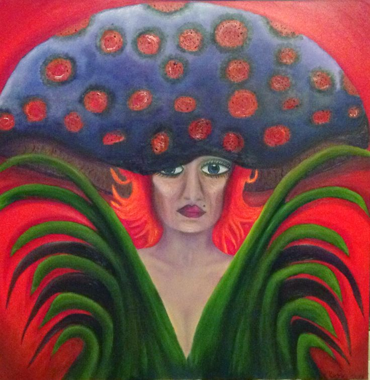 ARTIST Susan Mc Donald PINK BUBBLE ART CREATOR.  OIL ON CANVAS TITLED INCOGNITO