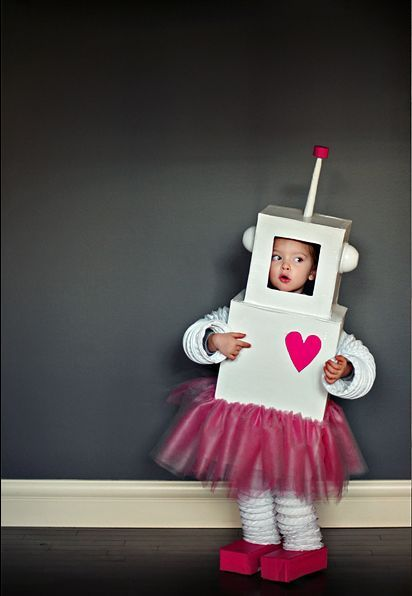 girl robot costume tutu diy cardboard costume: Pink Robots, Robots Halloween, Girls Robots