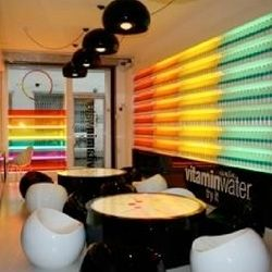 The Vitamin Water concept store in London is well branded not only with the brand's logo but with the brand's iconic colors that represent their tasty drinks. #Retail #VitaminWater