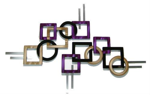 JUMBO Purple n Tan 2pc Geometric Squares - Contemporary wall sculpture