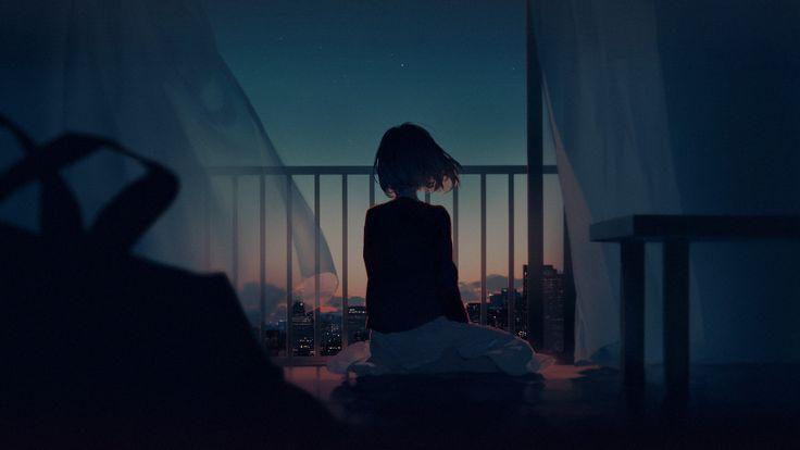 Anime Wallpaper 1920x1080 digital art, artwork, women, cityscape, balcony, short hair, barefoot, anime girls, night, city