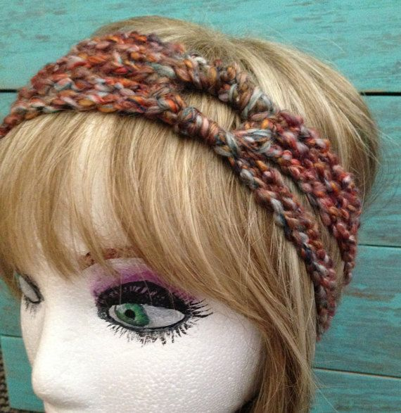 Crochet 5 strand headband with circle Bohemian by StarfawnClothing
