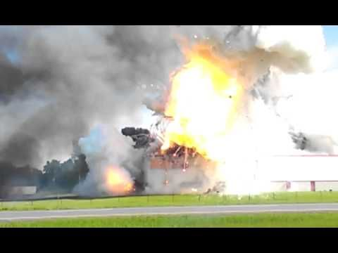 Awesome But Tragic Video Of Fireworks Warehouse Explosion   Immediately I feel a lot of remorse for publishing a video of a tragedy that has left 2 women dead in fireworks warehouse explosionsouthwest of Montreal Canada, in Coteau-du-Lac. On the flipside, I have always wanted to know what a fireworks warehouse would do if it exploded. The video above maybe isn't as spectacular as you'd imagine, but then again, you can see actual fireworks going off amongst the blaze.   http