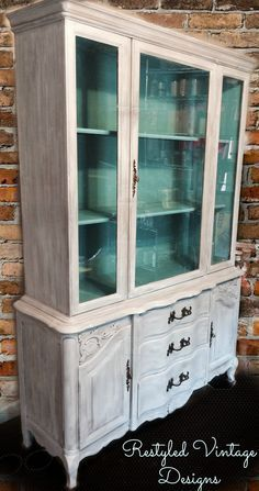 Provincial hutch restyled with American Paint Company Crushed Tea, Uncle Sam, and Shoreline.
