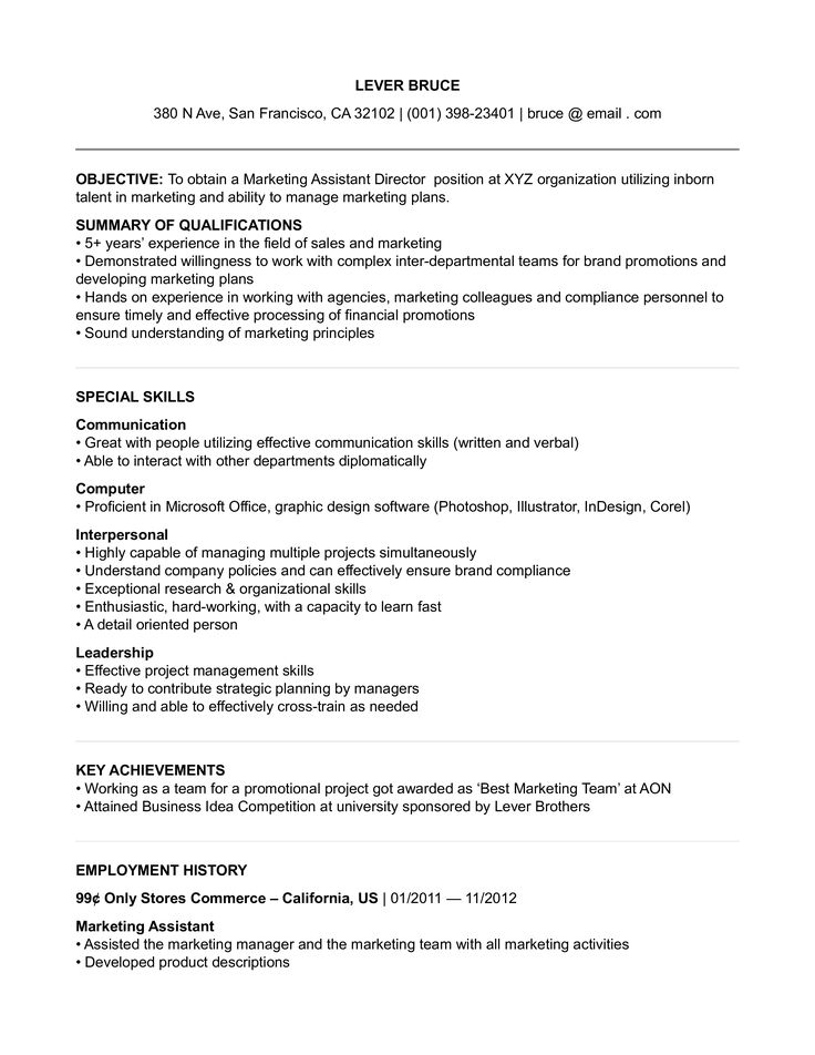 Assistant marketing director resume how to draft an