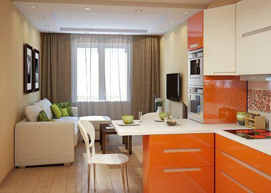 Как разместить кухню и гостиную на 16 квадратных метрах