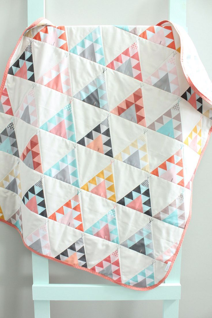 baby triangle quilt coral