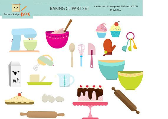 Baking Clipart Set - clip art set of baking items - personal use, small commercial use, instant download, baking muffins cake elements, SVG