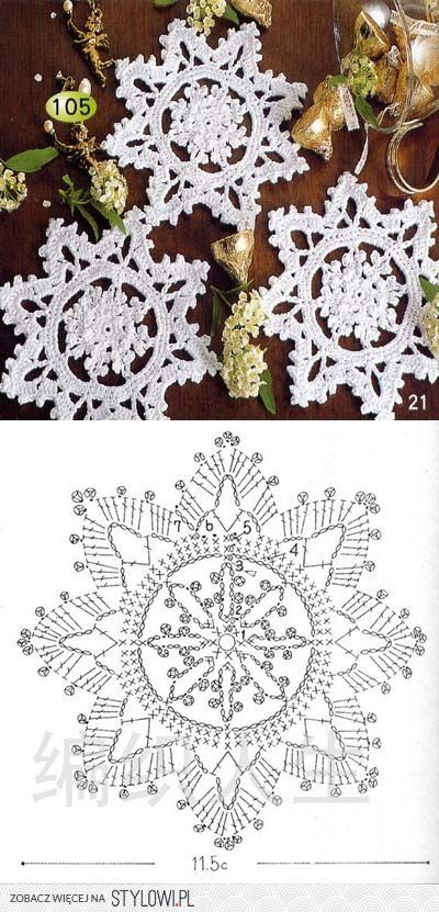 559 best Crochet estrellas y copos de nieve images on Pinterest ...