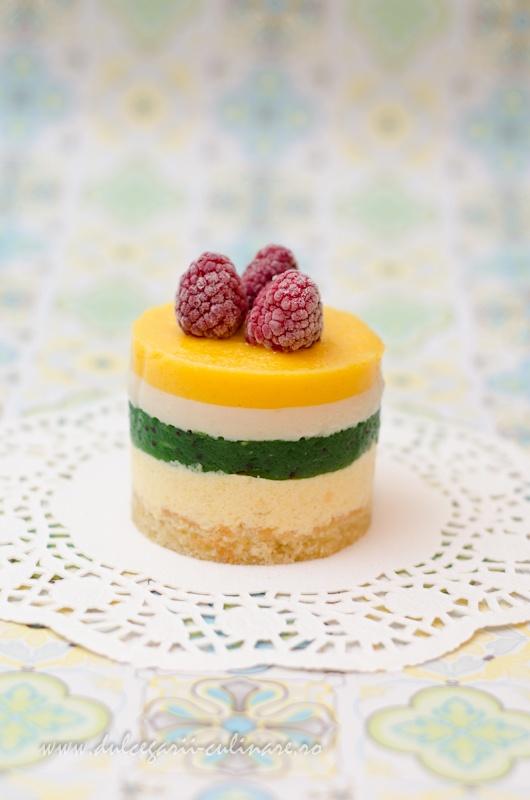 Peach, Kiwi and Raspberry Mousses Cake
