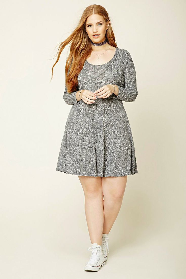 Forever 21+ - A marled ribbed knit mini dress featuring a scoop neckline, a plunging lace-up back, and long sleeves.