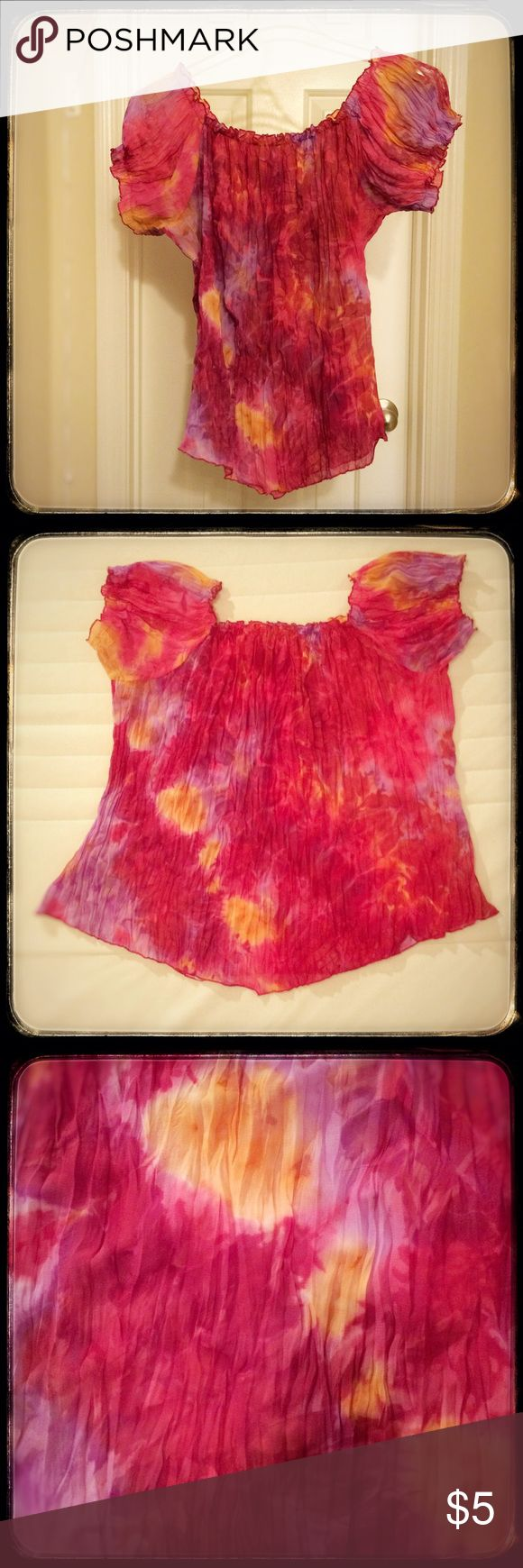 """Tie dyed hot pink scrunchy t-shirt top. Large No label. Loose fitting funky tie dyed top. Scrunchy fabric. Elastic sleeves and elastic square neckline. Lay flat loose stretch bust measures approximately 22"""" across. Tops Tees - Short Sleeve"""