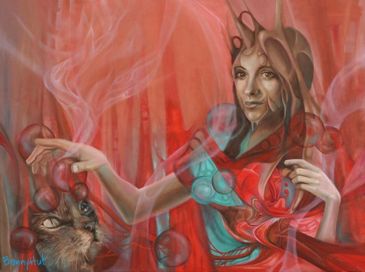 """The visionary / surrealist artist ,Bonny Hut, who painted this oil painting has a thing for cats. She has 5 cats living in her home in Melbourne, Australia . This oil painting is called """"love dance of the unified field."""" It is of a woman who gets her heart and aspects of her multi dimensional self activated by interacting with a feline goddess."""