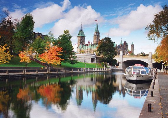 The Rideau Canal. A world heritage site! Beautiful in the Summer and used for pleasure boating; In the winter it becomes the world's largest skating rink!