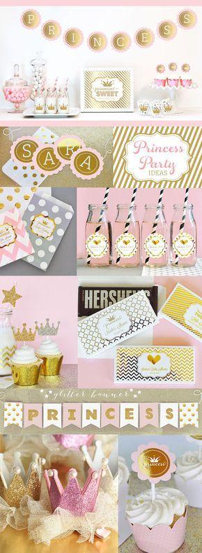 Oro corona engomadas Tiara Glitter oro princesa por ModParty