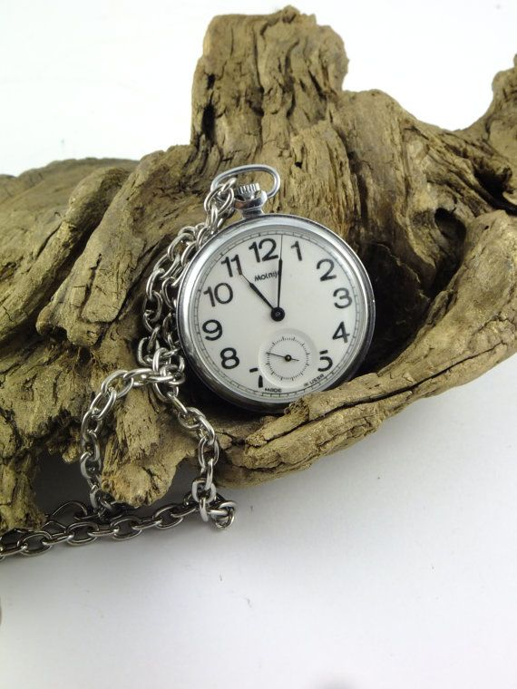 Vintage Molnija Russian Soviet Old Pocket Watch by ContesDeFees