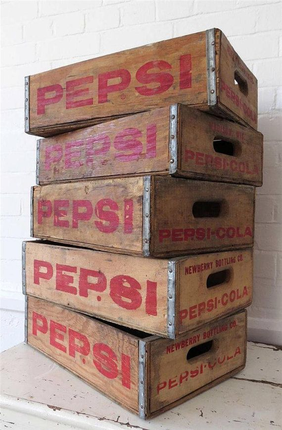 Vintage Pepsi Soda Storage Box Wooden Crate Menagerie Of