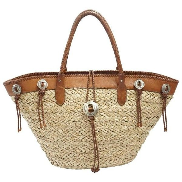 Preowned Ralph Lauren Straw And Brown Leather Tote Bag ($650) ❤ liked on Polyvore featuring bags, handbags, tote bags, brown, totes, leather tote handbags, brown leather tote, straw tote bags, brown leather tote bag and leather purses