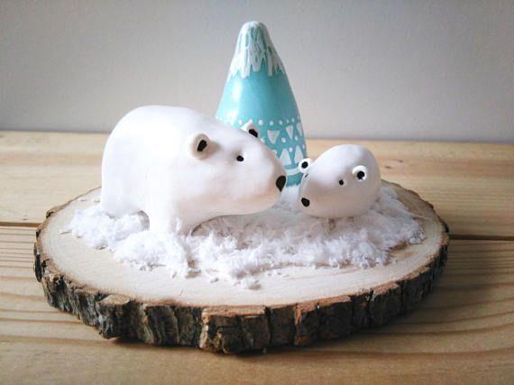 Ours polaire sur la banquise décoration à poser, centre de table, décoration de Noël by Fée Plaisir