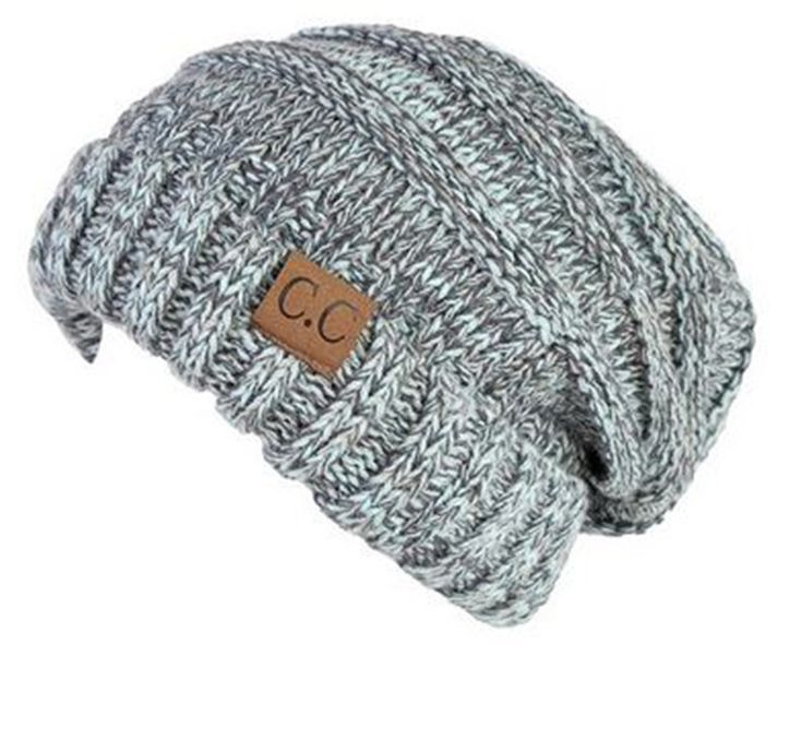 Unisex Soft Stretch Knit Slouchy Beanie (Mint Multi Color)