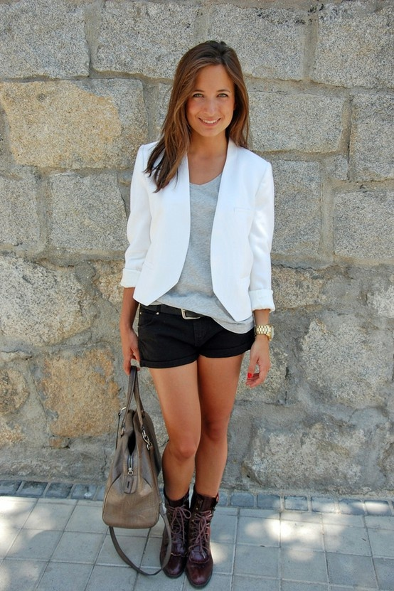 White blazer + shorts