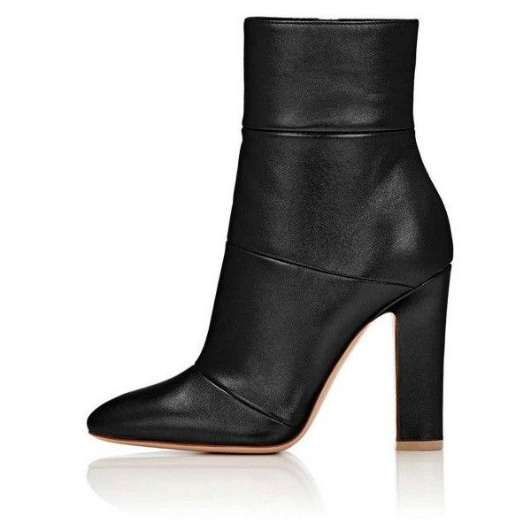 Women's Lelia Black Chunky Heels Side Zip-Up Almond Toe Ankle Booties ($80) ❤ liked on Polyvore featuring shoes, boots, ankle booties, side zip boots, almond toe booties, chunky-heel boots, thick heel boots and side zipper boots