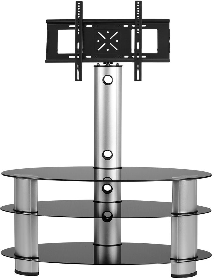 sales@spt-furniture.com  Bentley TV Stand Black Glass/Silver Assembled Sizes(MM) 1095 x 445 x 1455  GLASS METAL FRAMING/BRACKET Extra Information GLASS THICKNESS 8/5MM SHELF SIZE W1095 D445 H185 BOT SHELF SIZE W1095 D445 H235 MAXIMUM WEIGHT ON TOP 30KGS MAXIMUM WEIGHT ON SHELVES 20KG