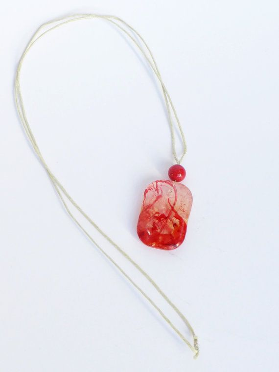 Long pendant necklace, Small pendant, Red resin necklace, Resin jewelry, Transparent pendant, Red and white pendant, Simple charm