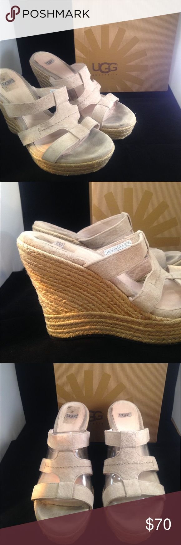 UGG Tawnie Wedge Sandals UGG Tawnie Wedge Sandals. With rich suede upper and leather wrapped cushioned footbed. Has a braided & criss cross detail. The soles have freckled specs in them. Super cute. Excellent condition. Light signs of wear on upper footbed. Size 9. Retail is $130.99. Comes w/original box. UGG Shoes Wedges