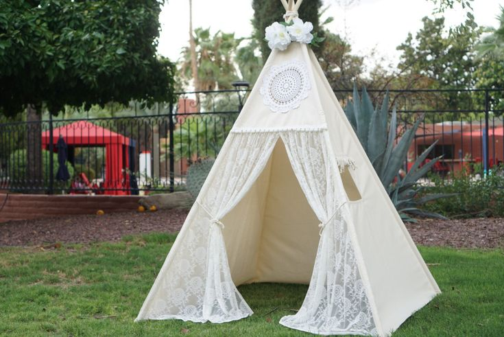Vintage lace teepee tent with nature canvas/kids Play tent/ girls ...