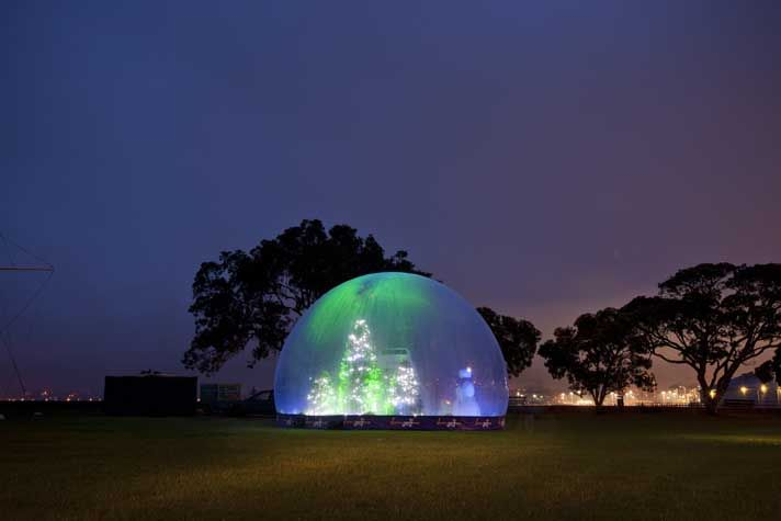Cadbury Snow Dome brought to life each xmas around New Zealand and illuminated with LED floodlights & DMX control system