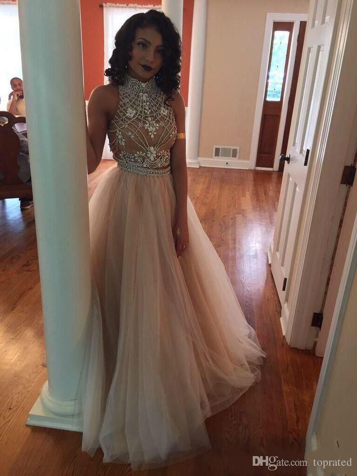 2016 Sexy Two Pieces Prom Dresses High Neck Beaded Champagne Tulle Floor Length Formal Party Dresses Top Selling New Evening Gowns Girl Prom Dresses Good Prom Dress Websites From Toprated, $131.94| Dhgate.Com